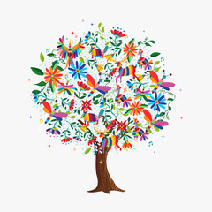 Spring tree concept with color animals and flowers