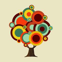 Retro color shapes concept tree decoration