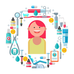 Dental care. Vector illustration.
