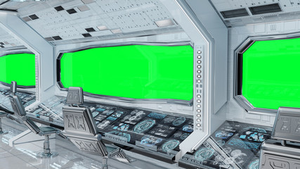 Fototapete - White clean spaceship interior background 3D rendering
