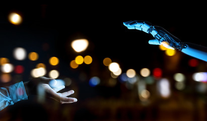 White cyborg hand about to touch human hand 3D rendering