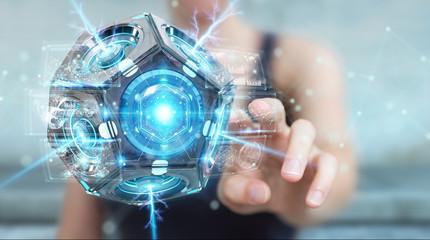 Businesswoman using futuristic drone security camera 3D rendering
