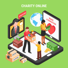 Charity Online Isometric Composition