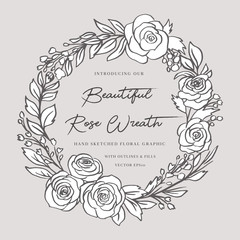 Doodle Floral Rose Wreath - Beautiful floral wreath bursting with roses. This design have lush flowers and foliage, and were sketched by hand before being vectorized.