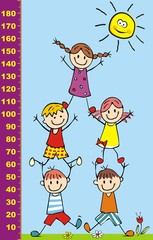 Happy kids and sun, height measure, vector illustration, eps