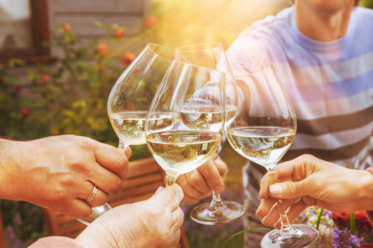 Family of different ages people cheerfully celebrate outdoors with glasses of white wine, proclaim toast People having dinner in a home garden in summer sunlight