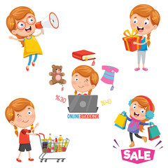Vector Illustration Of Little Girl Shopping