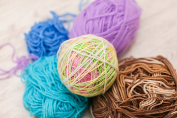 colorful threads for Knitting. close up of colorful yarn wool, a lot of balls. Knitting yarn for handmade winter clothes