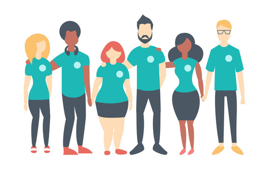 Group of Volunteers wearing same color t-shirts