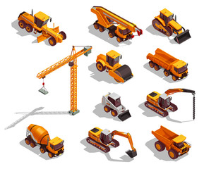 Construction Machinery Isometric Icons
