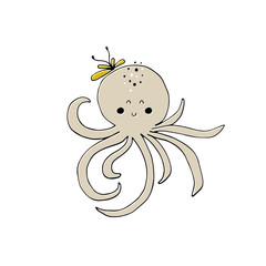 Vector hand drawn octopus
