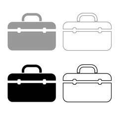 Tool box professional icon outline set grey black color