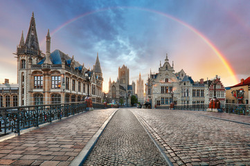 Wall Mural - Rainbow over Ghent, Belgium old city