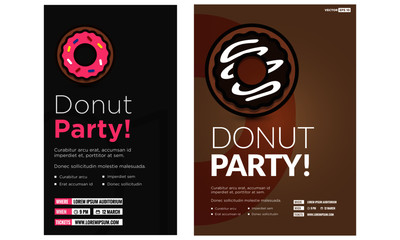 Donut Party Poster Design with Date and Time Template