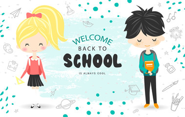 Welcome Back to school vector background with students. Vector illustration for website , posters, email and newsletter designs, ads, coupons, promotional material.
