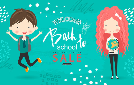 Back to school sale vector background with students. Vector illustration for website , posters, email and newsletter designs, ads, coupons, promotional material.