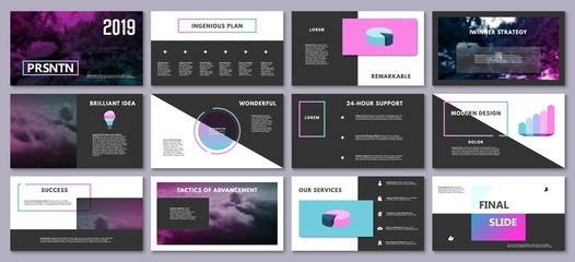 Presentation template for flyer, brochure, product, promotion, advertising,  report, banner, business, modern style on black and blue color background. vector illustration Wall mural
