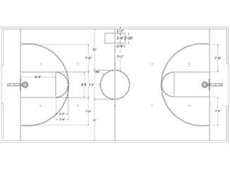 basketball court Architect Blueprint - isolated