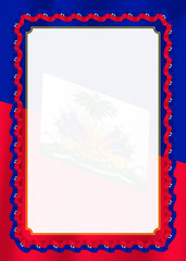 Frame and border of ribbon with Haiti flag, template elements for your certificate and diploma. Vector