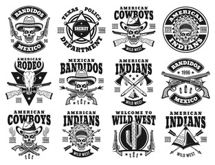 Wild west set of vector emblems, labels, badges