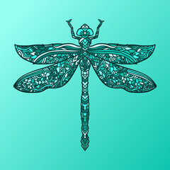 Blue dragonfly in mandala style. Stylized insect. Zentagle doodle vector illustration. Ethnic pattern.