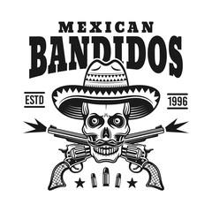 Mexican bandit skull in sombrero vector emblem