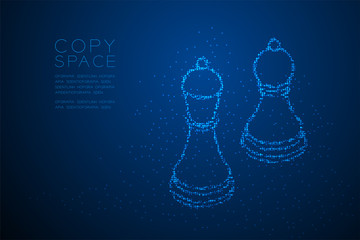 Abstract Geometric Bokeh circle dot pixel pattern Chess Bishop and pawn shape, Business strategy concept design blue color illustration isolated on blue gradient background with copy space, vector