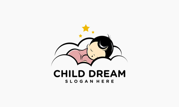 Child Dream Logo designs, Sleeping well kids logo template