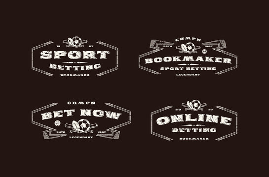 Set of bookmaker emblem in retro style
