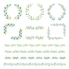 葉っぱ 装飾フレームセット / vector eps 10