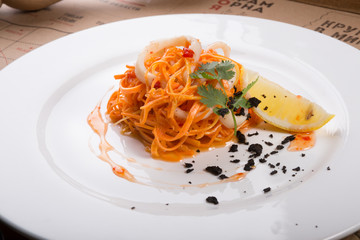 Carrot and squid seafood salad