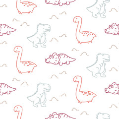 Dinosaurs line style cute baby seamless vector pattern.