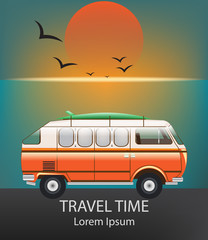 Summer Travel car Vector. Camping trailer on blue backgrounds
