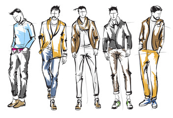 Fashion man. Set of fashionable men's sketches on a white background. Spring men. Wall mural
