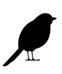 Black silhouette. Titmouse bird. Flat cartoon character design. Black bird icon. Vector illustration isolated on white background