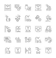 Set of Simple Icons of 3D Cars Printing.