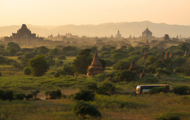 The spectacular landscape of Bagan land of the thousand pagoda in Myanmar during the sunset.