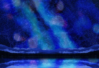 七夕の天の川と湖面に映るキラキラ夏の星空イメージ