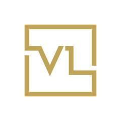 two letter logo line square VA TO VZ
