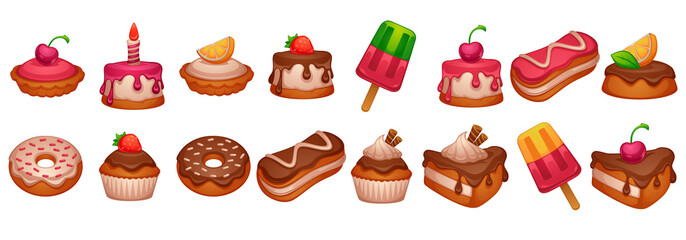 cakes, donuts and desserts, shiny and glossy cartoon objects on white background