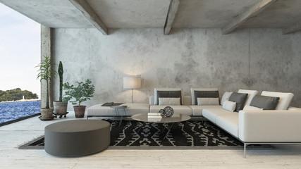 Wohnzimmer mit Couch in Loft