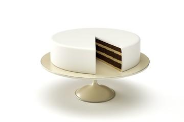 basic wedding cake on plate isolated white background