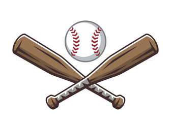 Two crossed wooden baseball bats and ball. Sport logo, emblem, symbol, sign, badge, label, vector illustration in cartoon style, isolated on white background.