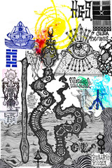Printed kitchen splashbacks Imagination Drawings and manuscripts with esoteric, alchemical and astrological signs and symbols