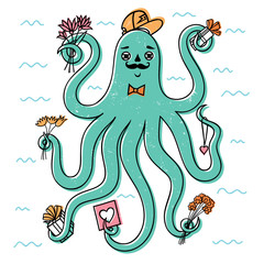 octopus/Friendly octopus in a cap and a mustache.