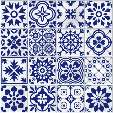 vector collection of  white and blue bmosaic tiles in oriental style