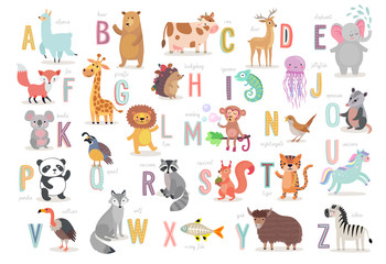 Cute Animals alphabet for kids education. Funny hand drawn style characters.