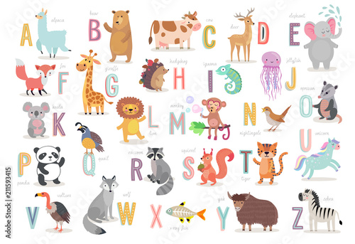 Fototapete Cute Animals alphabet for kids education. Funny hand drawn style characters.