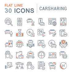 Set Vector Line Icons of Carsharing.