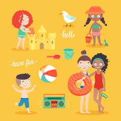 Wall Mural - Summer Kids card set, swimming, playing on the beach, camping and having fun.